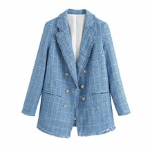 2020 Summer New Tweed blazer Suit Jacket zaraing vadiming sheining women female