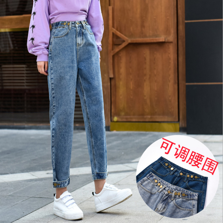 Dad Jeans Women's Loose-Fit Spring 2019 New Style High-waisted Pants Straight-Cut Radish Capri Pants With Holes Harem Pants