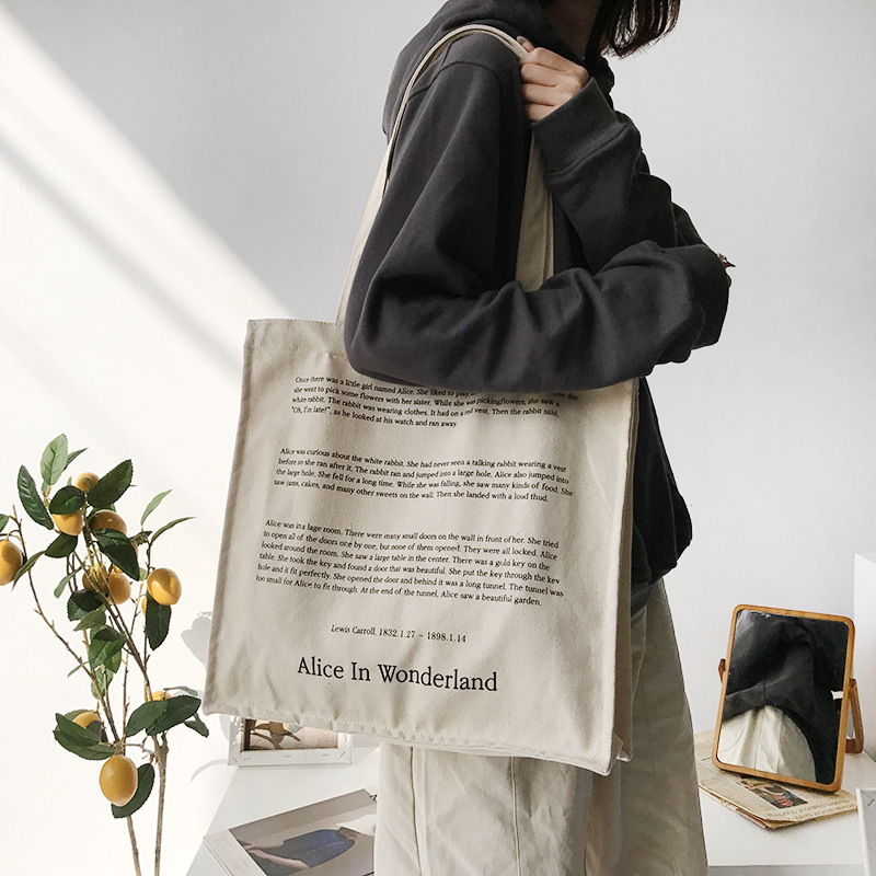 Women Canvas Shoulder Bag Fairy Tales Print Daily Shopping Bags Students Books Bag Thick Cotton Cloth Handbags Tote For Girls