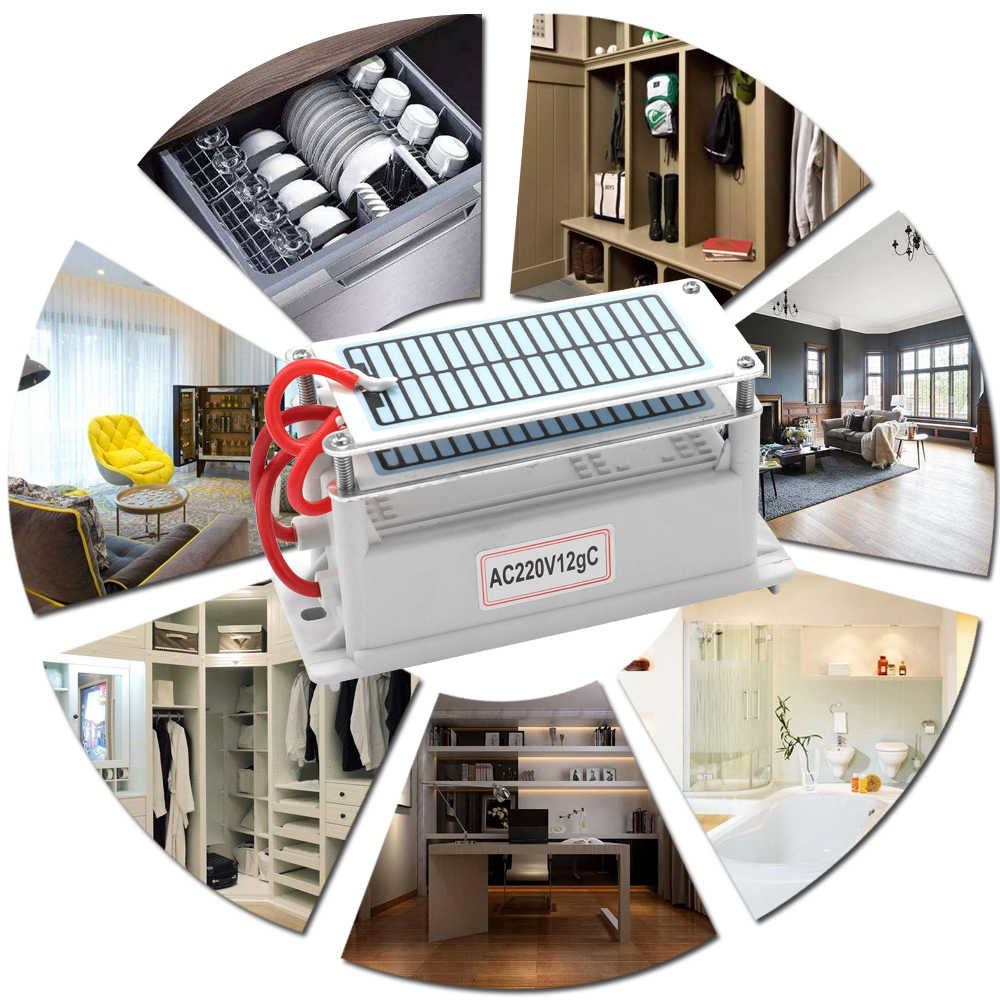 New 220V 12g  Portable Ceramic Ozone Generator Long Life Two Ozone Tablets Integrated Plate Air Water Purifier Ozonizer