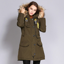 Women's winter 2019 coat Winter women's coat in the long women's cotton coat Fur collar hooded down cotton padded coat women the counter brand quality original design in the winter 2015 easing the big yards of cotton linen women cotton padded clothes