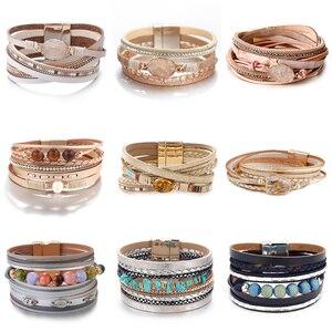 Amorcome Bohemian Natural Stone Charm Leather Bracelets for Women 2020 Fashion Crystal Multilayer Wrap Bracelet Female Jewelry