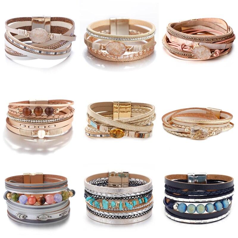 Pulseras Amorcome de cuero bohemias con amuleto natural para mujer moda 2020 pulsera de envoltura ancha multicapa de cristal joya para mujer