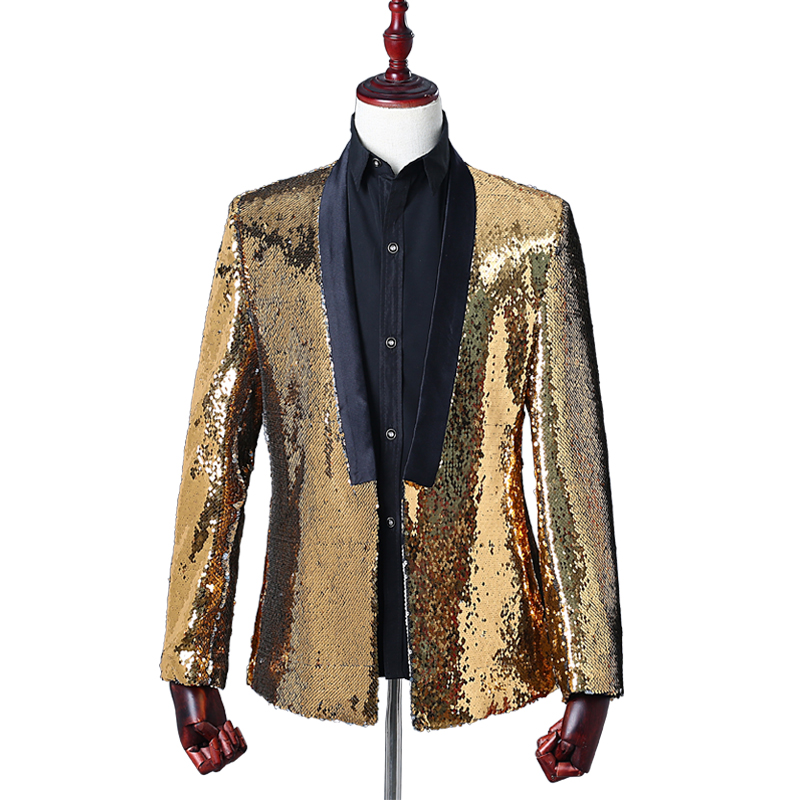 Stylish Men's Suits Mixed Two-color Lapel Sequins Without Buckle Slim Casual Suits Prom Singer Costumes