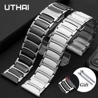 Cinturino cinturino in ceramica tra acciaio inossidabile 20mm 22mm cinturino cinturino per Huawei Smart watch GT2/Watch 2pro/Samsung watch
