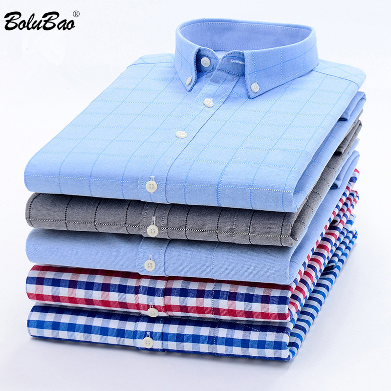BOLUBAO Brand Men Business Plaid Shirt Multi Style Button Decoration Long Sleeve Shirts Evening Prom Dress Shirts Male