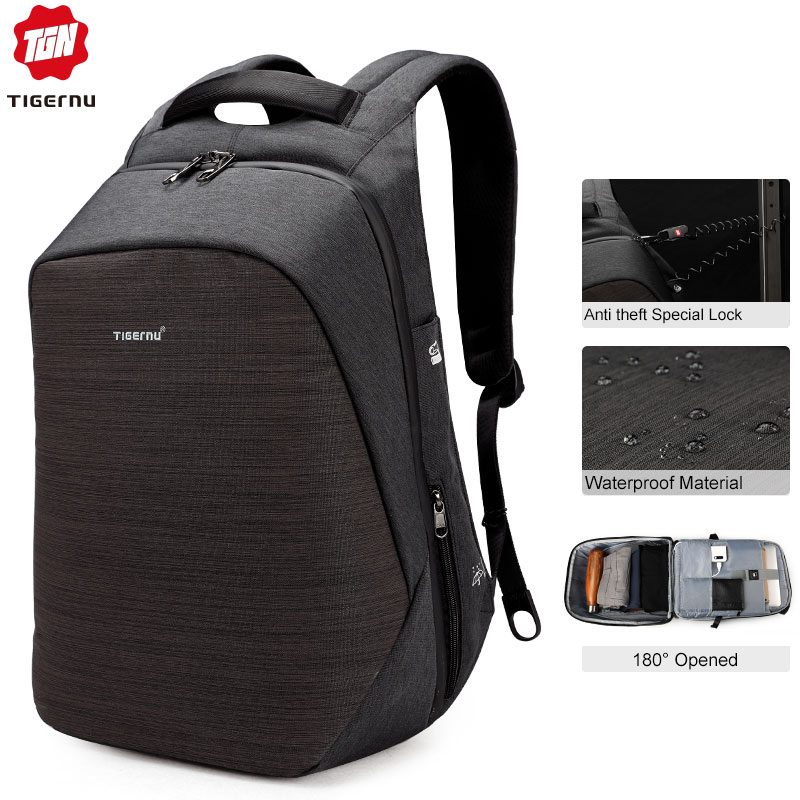 Casual Multi USB Charging Men 15inch Laptop Backpacks for Teenager Fashion Male Mochila Travel Anti Thief Schoolbag Backpack-in Backpacks from Luggage & Bags