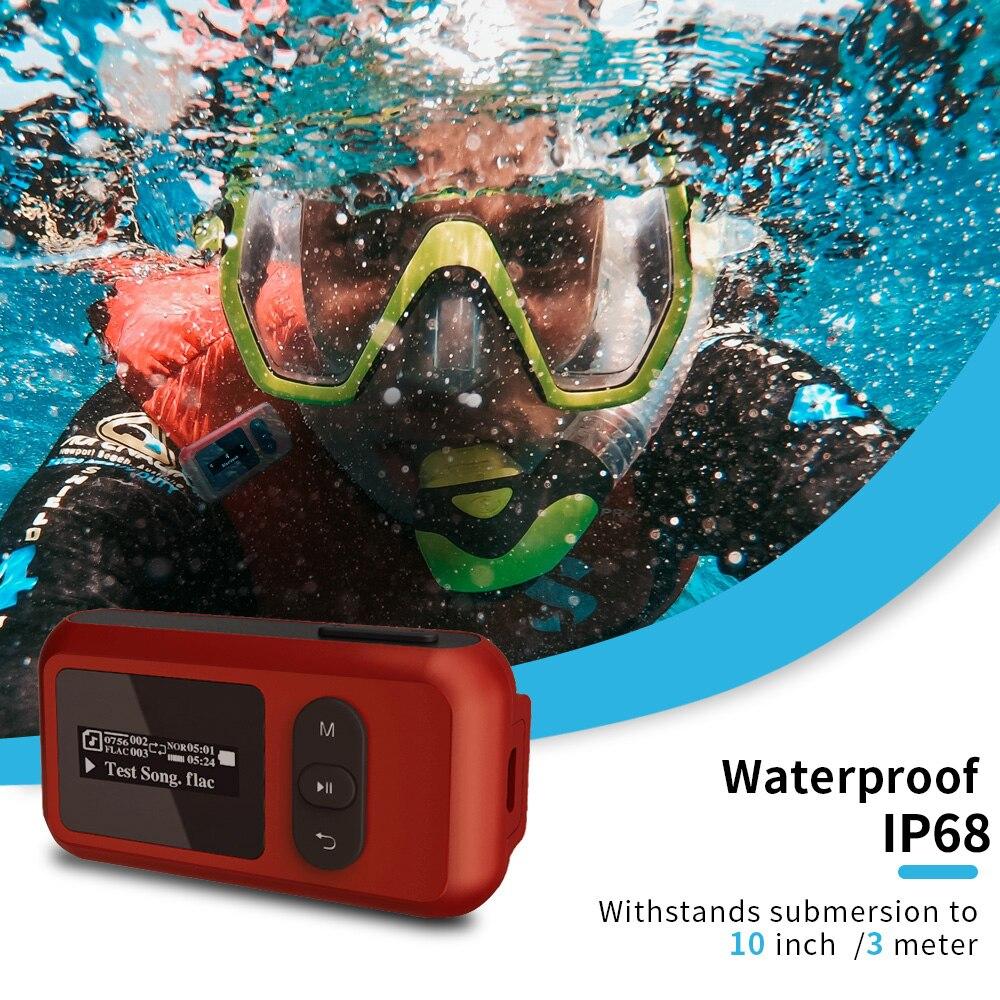 16 Гб IP68 Водонепроницаемый MP3-плеер для плавания, дайвинга, подводного спорта, музыкальные проигрыватели, стерео с наушниками, поддержка fm-ра...