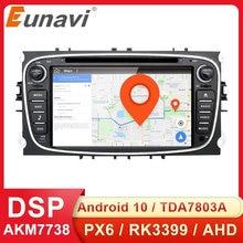 Eunavi 2 Din Android 10 coche DVD Radio GPS Multimedia Auto para FORD Focus Mondeo S-MAX C-MAX Galaxy 4G 64GB DSP unidad principal DSP