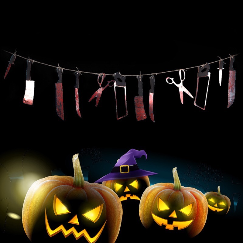 Nice Horror Spooky Halloween Party Haunted House Hanging Garland Pendant Banner Decoration Blood Bodys and Knifes Tools