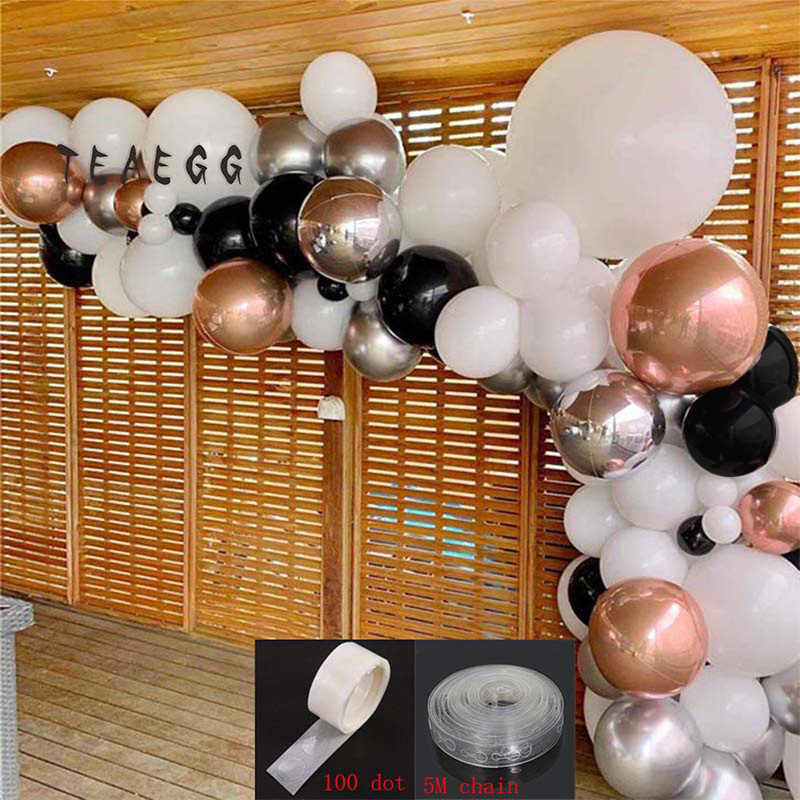 92pcs Rose Gold 4d Aluminium Foil Balloon Garland White Black Gold Balloon For Adult Wedding Birthday Party Decoration Supplies Ballons Accessories Aliexpress