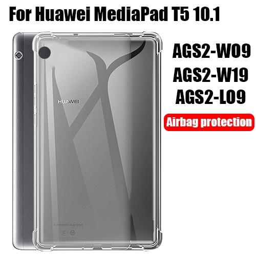 Tablet kılıf Huawei MediaPad T5 10.1 silikon yumuşak kabuk TPU hava yastığı kapak şeffaf koruma çantası AGS2-W09/W19/L03/L09