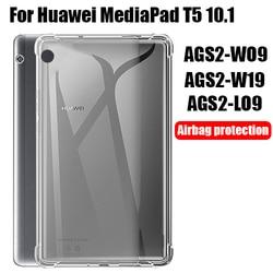 Coque pour tablette Huawei MediaPad T5 10.1, coque souple en Silicone TPU pour Airbag, housse de protection transparente pour modèles AGS2-W09/W19/L03/L09