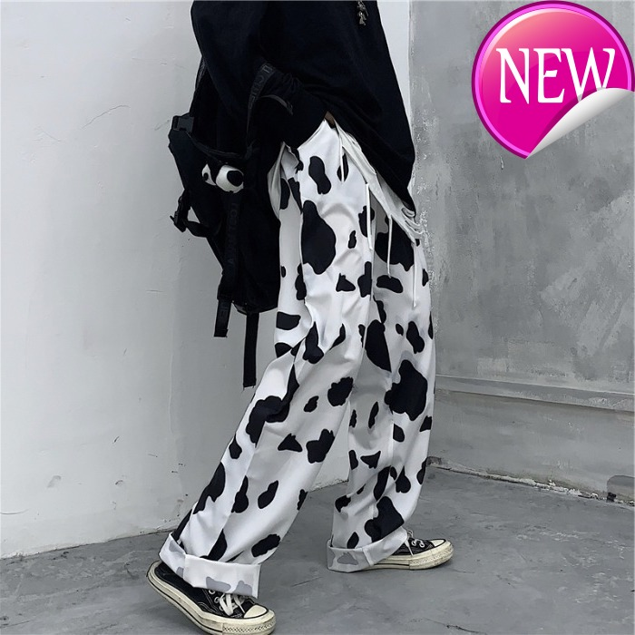Cow Couple Clothes Print Loose Straight High Waist Pants Woman Korean Casual Style Streetwear Capris Fashion New