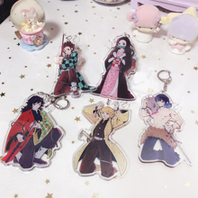 13Styles Anime Demon Slayer Kimetsu No Yaiba Keychain Tanjirou Giyuu Two sided Acrylic Keyring Blade of Ghost Pendant Key Chains 1pc kaguya sama love is war two sided cloth keychain cosplay anime pendant keyring key chains