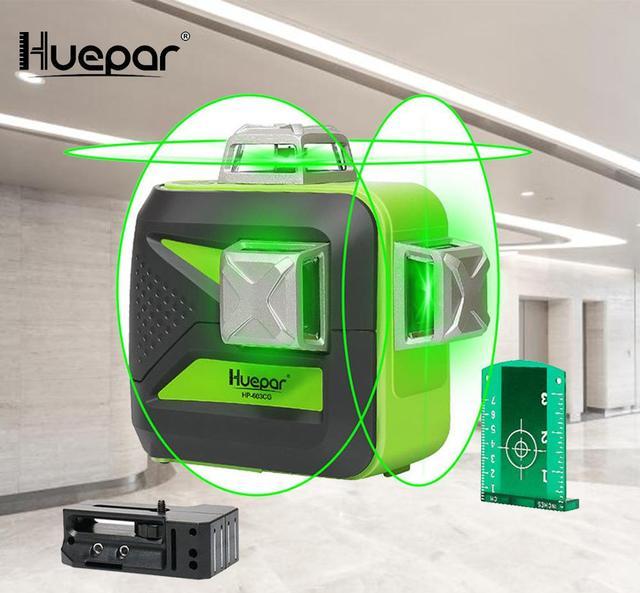 Самонивелирующийся лазерный 3D уровень Huepar, 12 линий, зеленый луч, пересечение горизонталей и вертикалей на 360 градусов