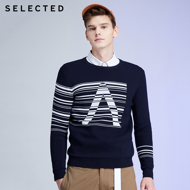 SELECTED Contrasting Stripe Letter Print Round Neckline Sweater | 419424501