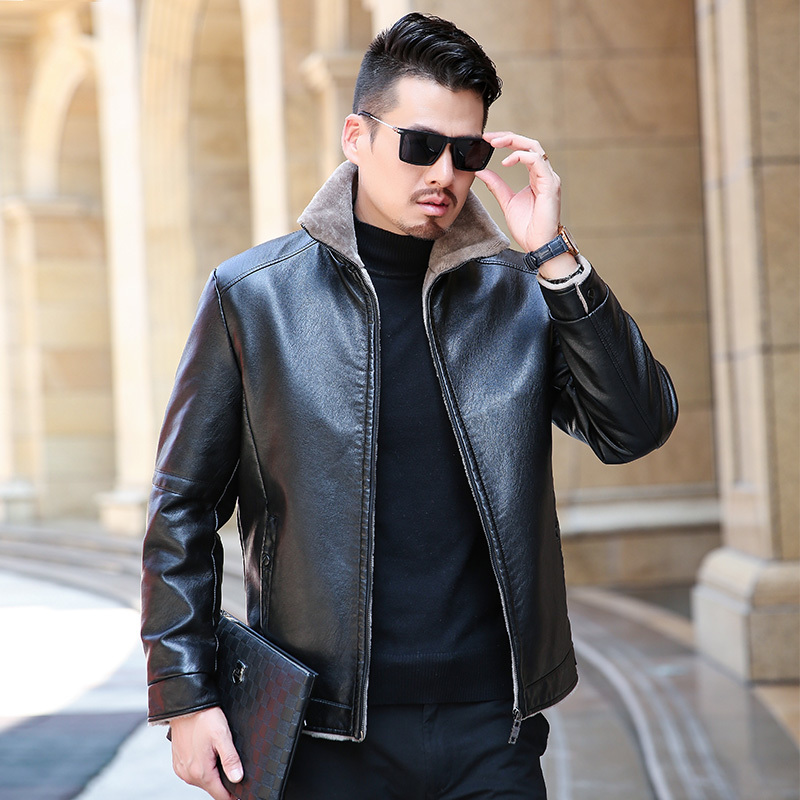 High Quality Winter Real Business Casual Leather Jacket For Men Fashion Brand Brown Sheepskin Jackets And Coats With Wool Lining