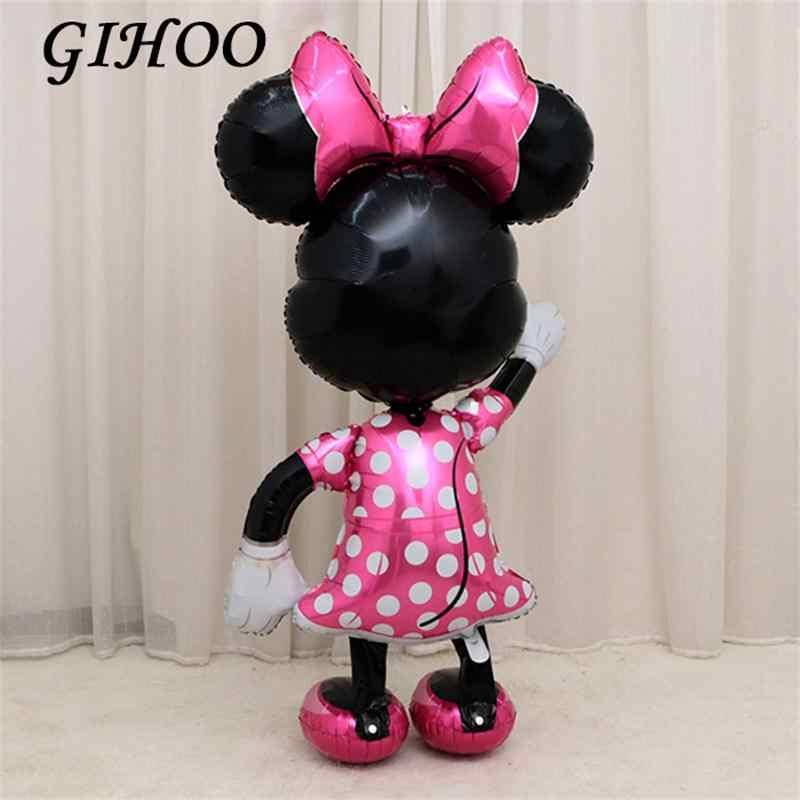 1PC 175cm Mickey Minnie Mouse balony foliowe różowy stały dzieci Birthday Party dekoracje Globos