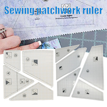 Acrylic Quilting Ruler Sewing Pattern Set Diy Tool Functional Convenience Durable For Clothing Leather Sewing Pattern Set Ruler
