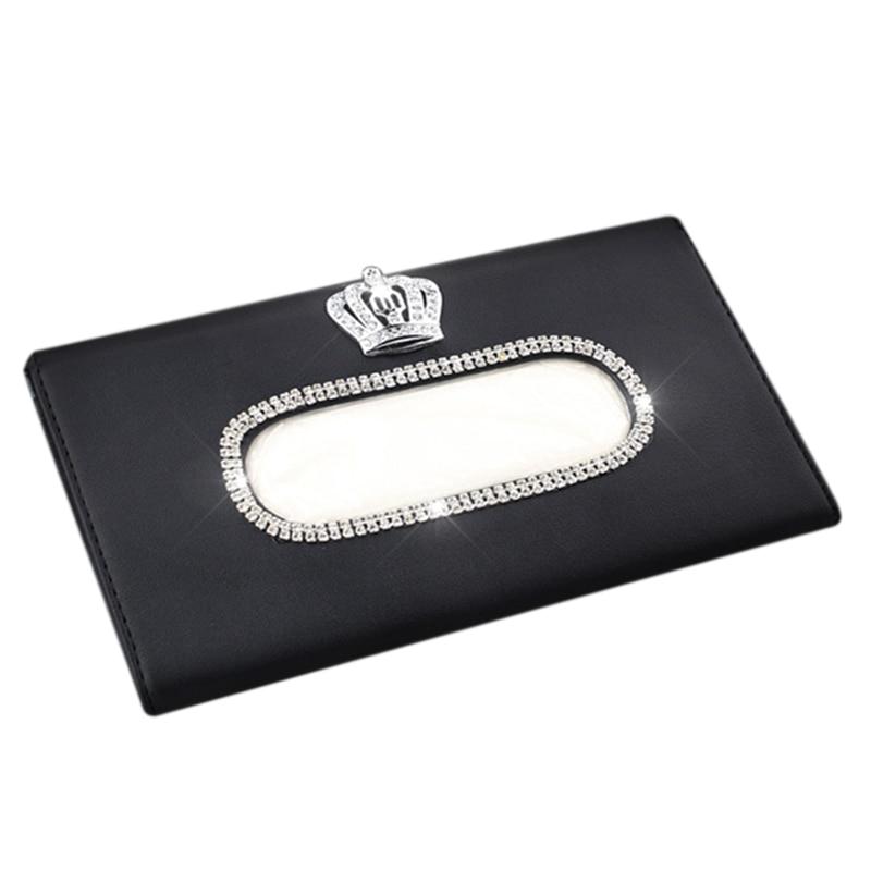 Fashion Crown Crystal Car Tissue Box Sun Visor Leather Auto Tissue Bag Sunvisor Hanging Holder Case Napkin For Car Accessories(B|Tissue Boxes| |  - title=