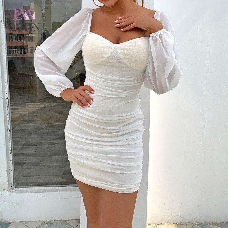 EvaQueen Chiffon Solide Weiß Sommer Mini Kleid Frauen Laterne Hülse Volle Reißverschluss Bodycon Kleider Backless V-ausschnitt Sexy Vestidos