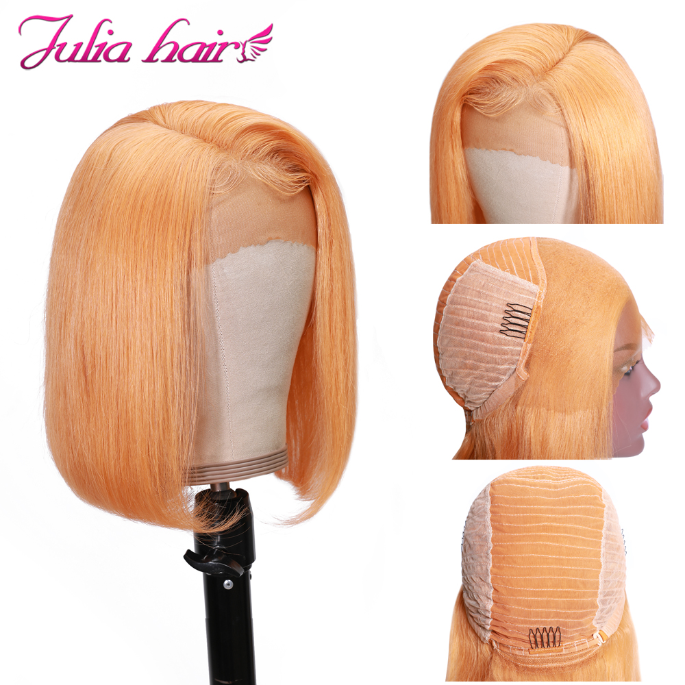 Blonde Bob Lace Front Human Hair Wigs Straight Brazilian Remy 613 Yellow Pink Green 13x4 Lace Front Short Bob Wig Pre Plucked (11)