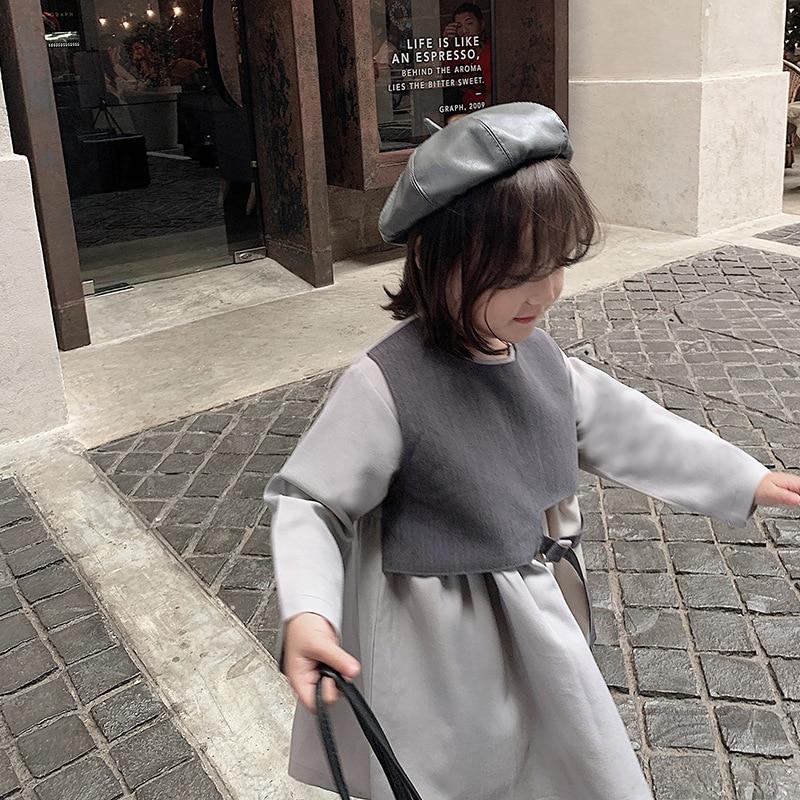 Комбинированное платье принцессы для девочек; Весна-Осень 2020; Новый стиль; Модные детские хлопковые платья с длинными рукавами в британском...