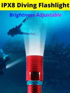 Torches Dive-Light Underwater-200-Meter Professional IPX8 Waterproof Camping-Lanterna