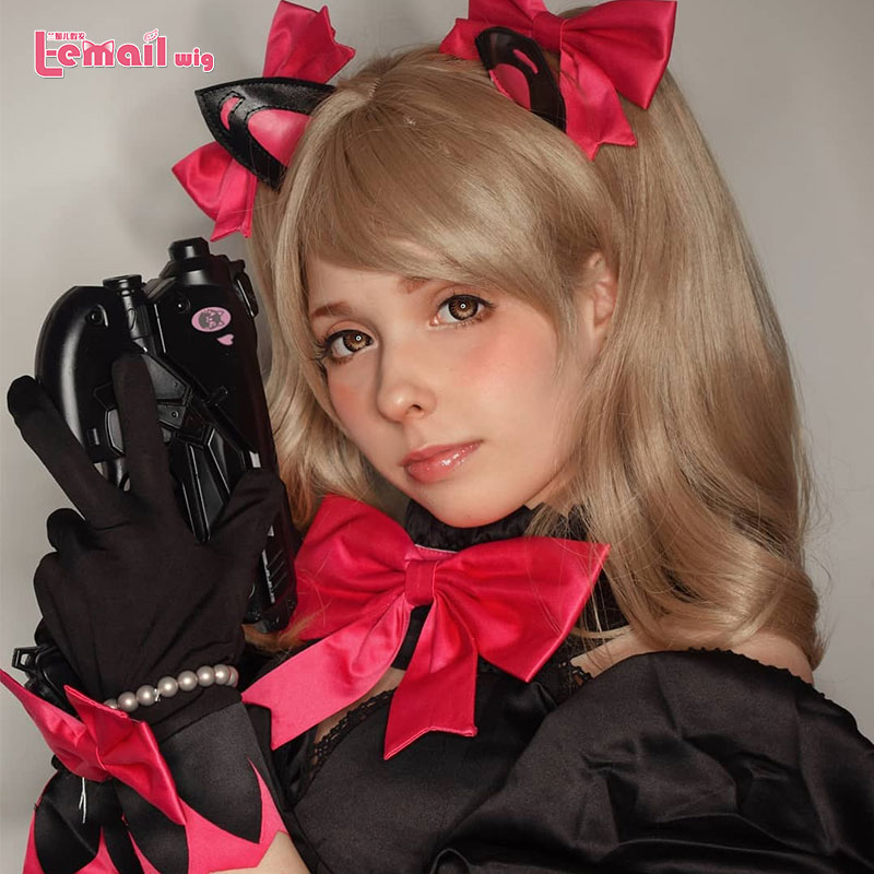 L-email Wig Game OW DVA Black Cat Cosplay Wigs Long Ponytails Cosplay Wig Halowween Heat Resistant Synthetic Hair