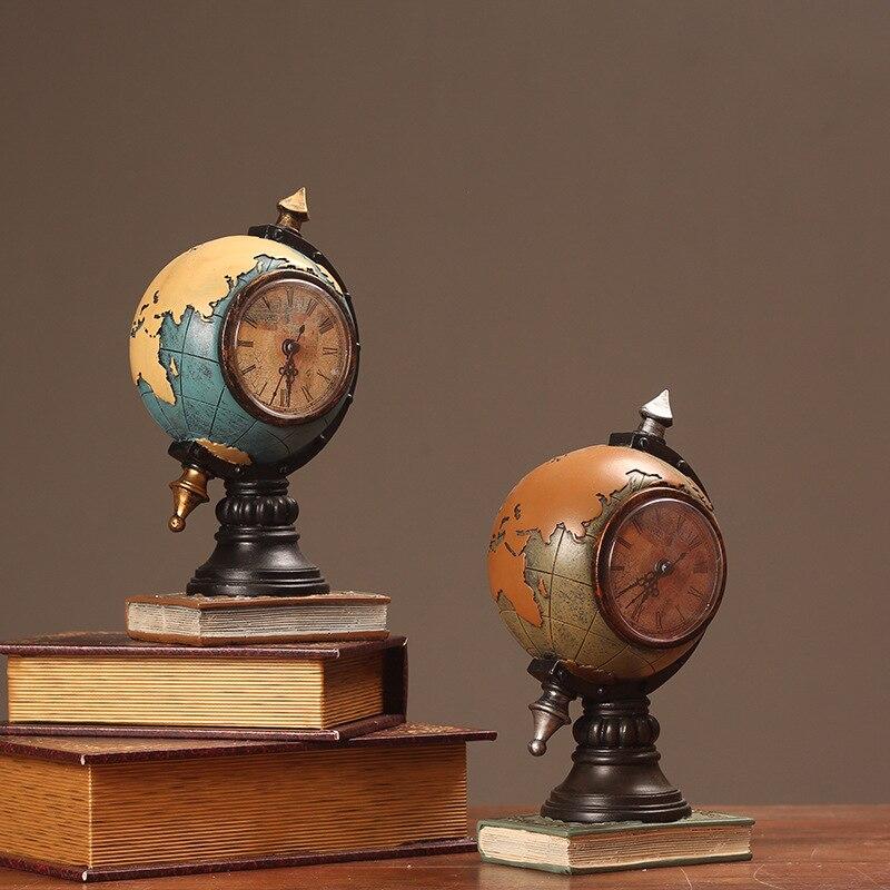 Desktop Ornament Vintage Clock Globe Model Clock Home Living Room Cabinet Porch Seat Clock Office Decorations Ornaments WF