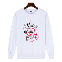 Cartoon Greys Anatomy Cotton Sweatshirt Men/Women Youre My Person Letter 90s Harajuku Ullzang Fashion Unisex Pullover Female