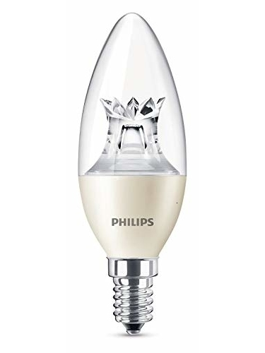 Philips Lighting Bombilla Vela LED De Luz Cálida, 4 W/25 W, Casquillo E14, Regulable, Blanco, Pack De 1