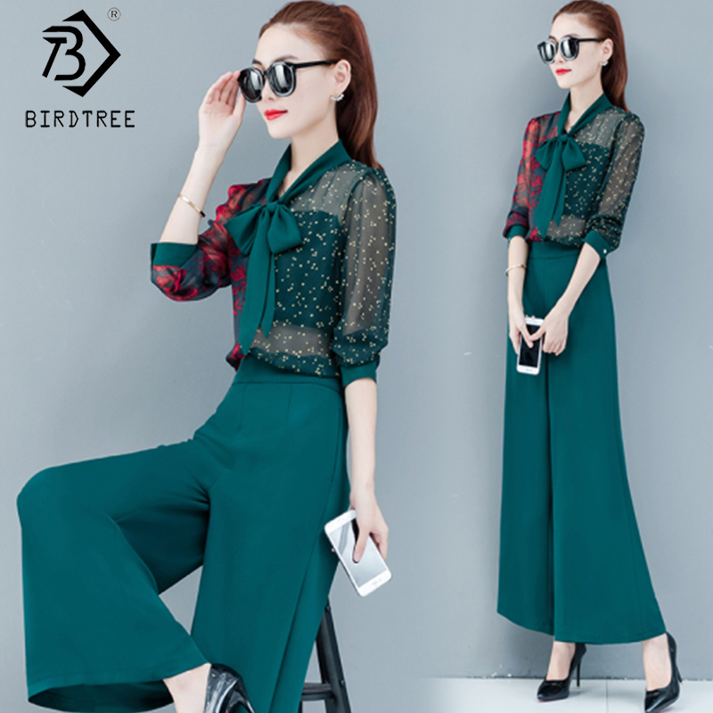 2020 Spring New Women's Suits Floral Printed Hollow Out Bow Tops And High Waist Wide Leg Pants Fashion Two Pieces Set S01312O