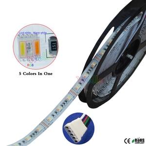 Image 2 - 5M DC12V/24V RGBWW 5 kolorów w 1 chip led taśmy LED, biała płytka PCB SMD 5050 elastyczne światło RGB + zimny biały i ciepły biały, 60 diod led/m IP30/67