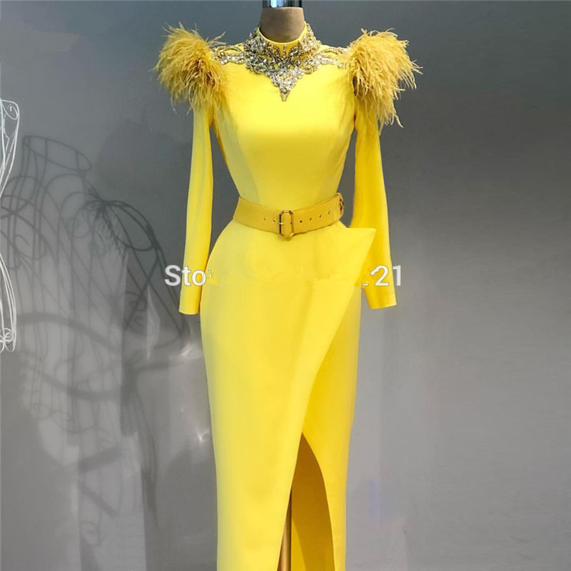 Yellow Muslim Evening Dresses 2019 Sheath High Collar Long Sleeves Feather Beaded Dubai Saudi Arabic Long Formal Evening Gown