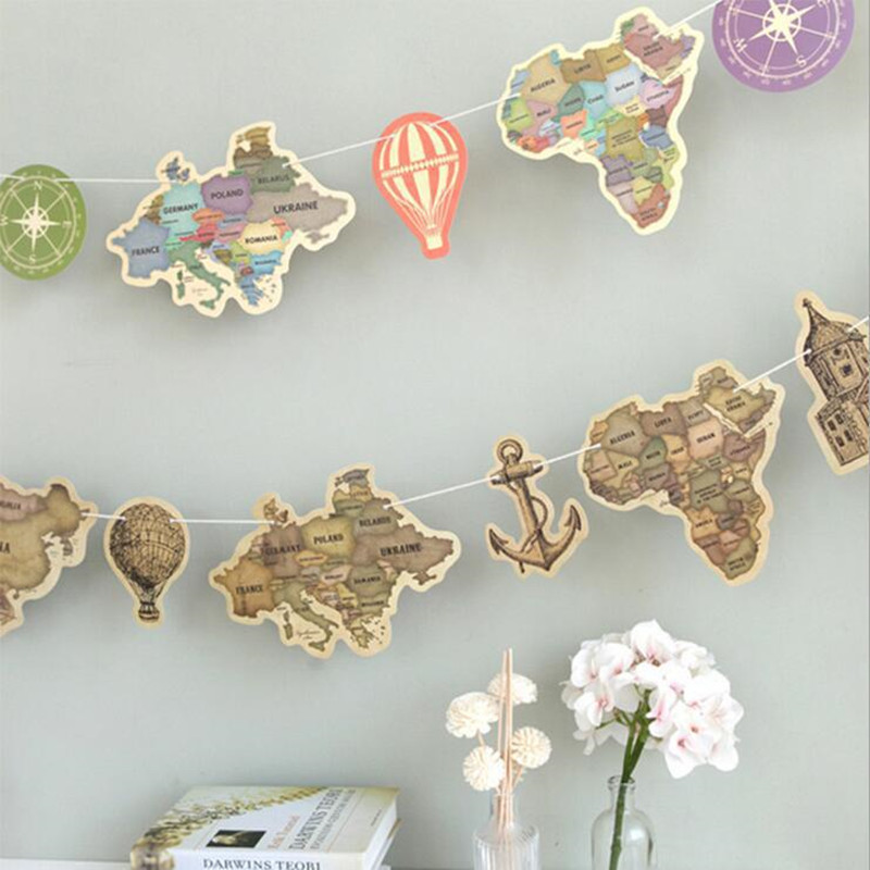9pcs Ancient World Map Paper Banner Pennants Anchor Fire Balloon Travel Around The World String Flag For Home Party Decoration