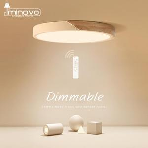 Image 1 - LED Ceiling Light Modern Nordic Round Lamp Wooden Home Living Room Bedroom Study Surface Mounted Lighting Fixture Remote Control