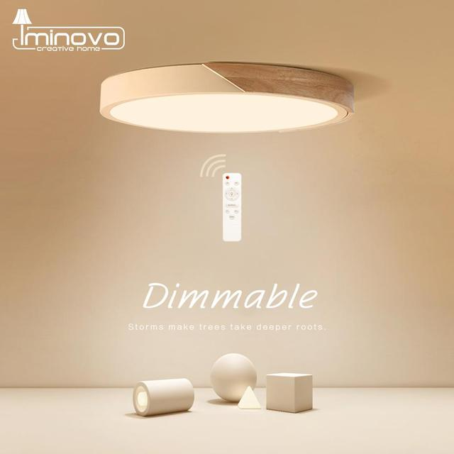 LED Ceiling Light Modern Nordic Round Lamp Wooden Home Living Room Bedroom Study Surface Mounted Lighting Fixture Remote Control