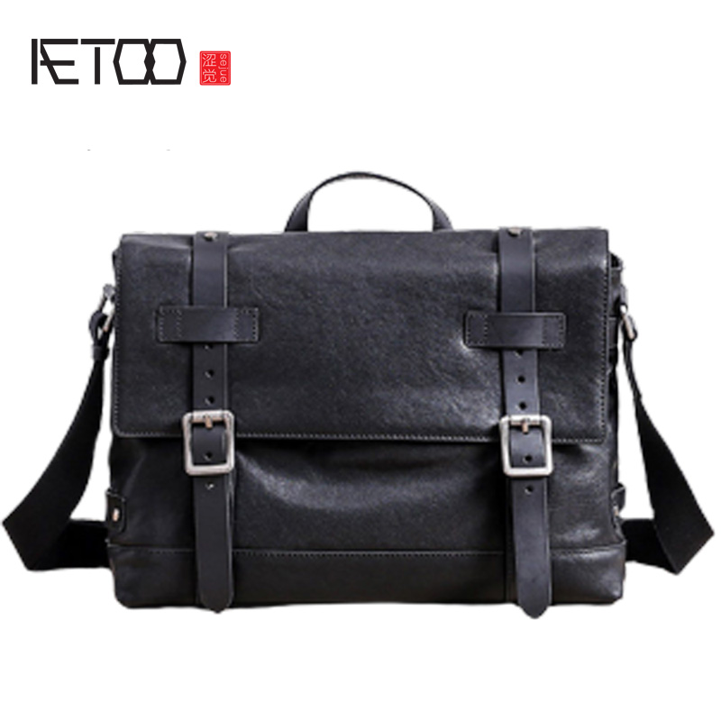 AETOO Men's shoulder bag, leather cross-sectional business casual briefcase, head leather postage bag