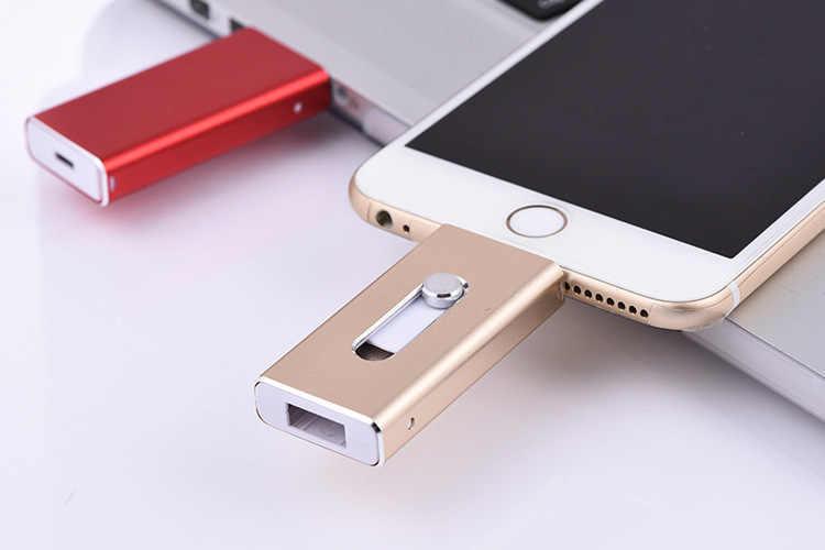 Novo otg usb 3.0 para iphone 7 usb pen drive para ipad mini pen drive 8 gb 16 64 gb 128 gb pendrive 32 gb memoria cel usb vara