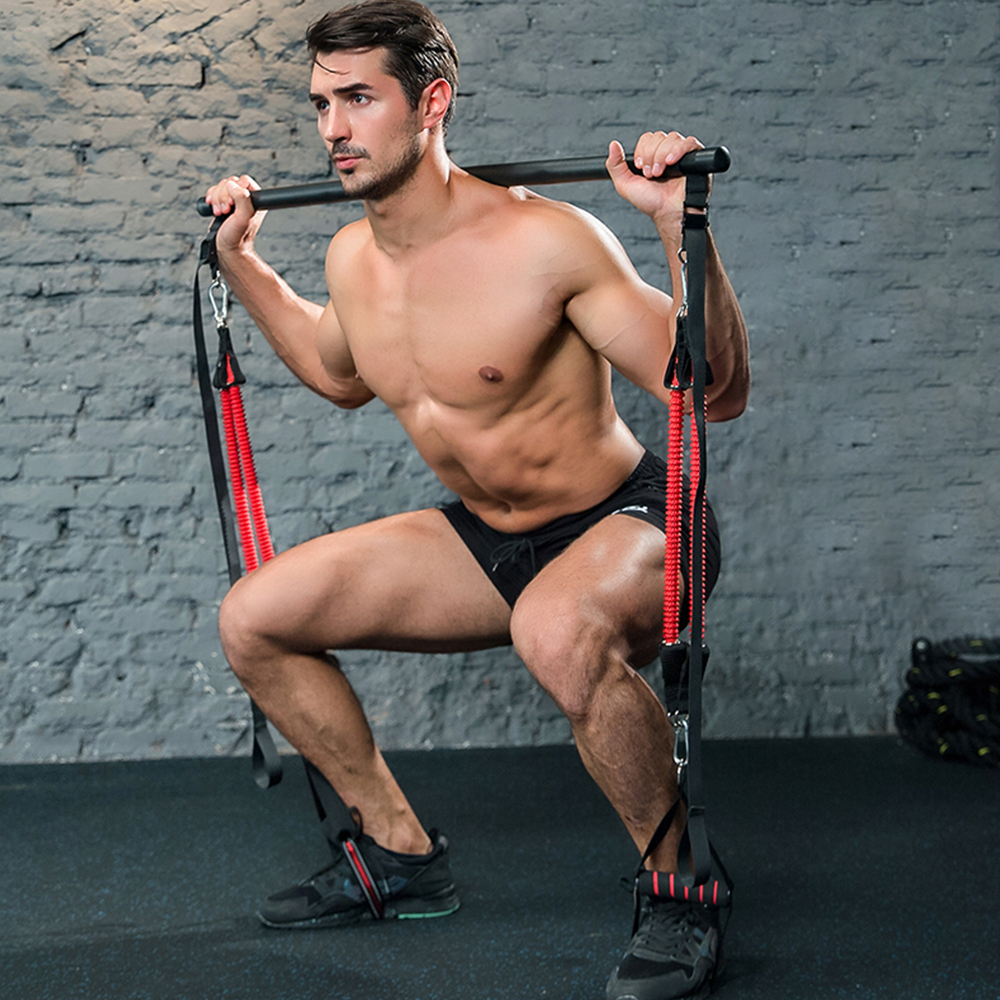 FDBRO Muscle Tension Bar With Resistance Bands Rubber Loops Trainer Body  Pull Rope Stick Fitness Gym Equipment Exercise