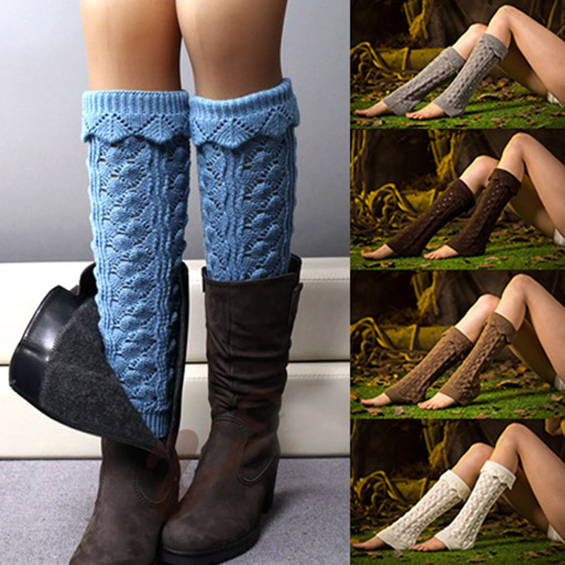 Womens Winter Warm Crochet Knit Fur Trim Leg Warmers Cuffs Toppers Boot Socks Solid Color