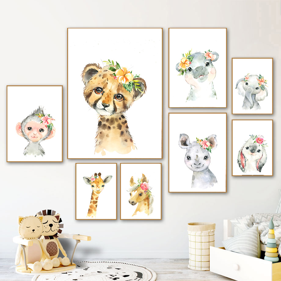 Nordic Posters And Prints Cartoon Elephant Giraffe Monkey Rabbit Leopard Animal Wall Art Canvas Painting Wall Pictures Kids Room