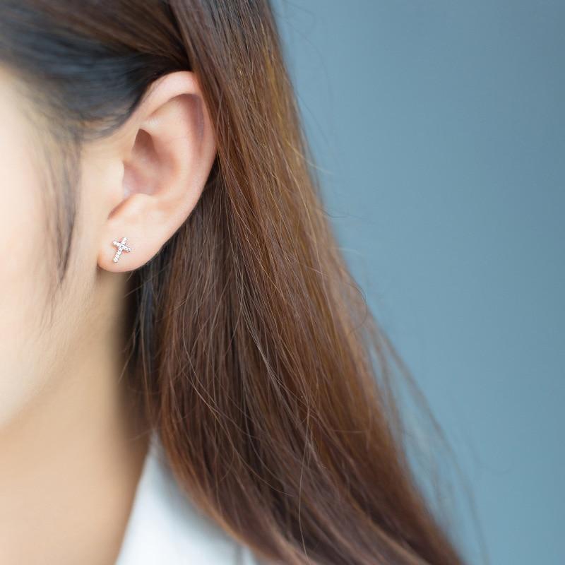 Modian Cross Clear CZ Faith Love Heart Small Stud Earrings Fashion For Women Sparkling 925 Sterling Silver Fine Charm Jewelry