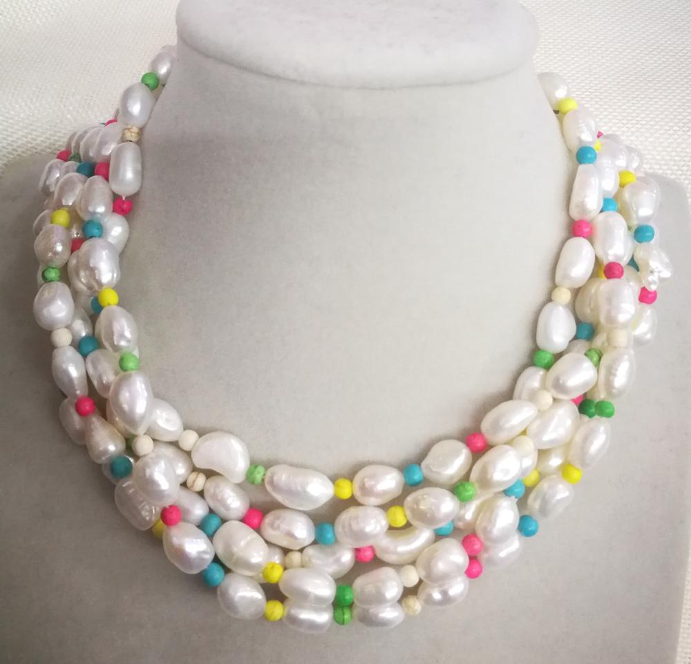 5 rangées 10mm blanc baroque perle coloré pierre mixte collier ras du cou naturel d'eau douce perle femmes bijoux 35-42cm 14-17''