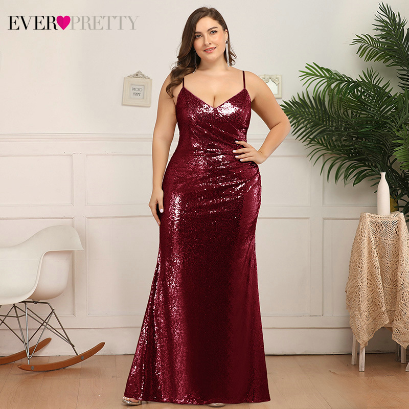 Plus Size Sexy Prom Dresses Ever Pretty EP07339 Deep V-Neck Sequined Spaghetti Straps Ruched Mermaid Party Gown Vestidos De Gala