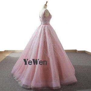 Image 4 - YENWEN מדהים ערב שמלות 2020 פורמליות O צוואר שמלה לנשף כדור שמלת אימפריה שרוולים מסיבת Dressabiti דה cerimonia דה סרה