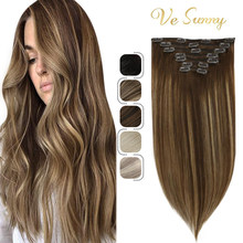 VeSunny Double Weft Clip in Hair Extensions Real Human Hair 7pcs Clip on Hair 120gr Balayage Brown mix Caramel Blonde #4/27/4