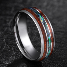 TIGRADE 8mm Tungsten Carbide Rings Hawaiian Koa Wood and Abalone Shell Wedding Bands for Men Comfort Fit Size 6-13 Brand bague